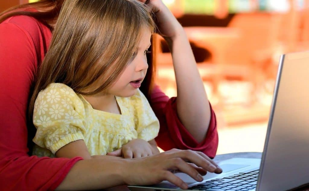 parent and child using a computer